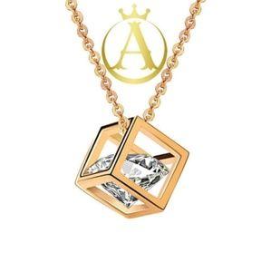 Jewelry - Grade AAAAA Zircon Stone & 18K Gold Cube Necklace